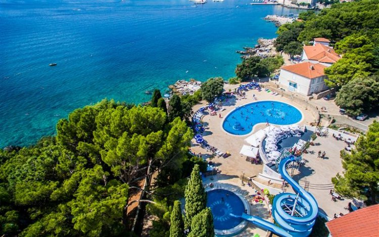 Aerial view of swimming pools at Dražica Hotel Resort