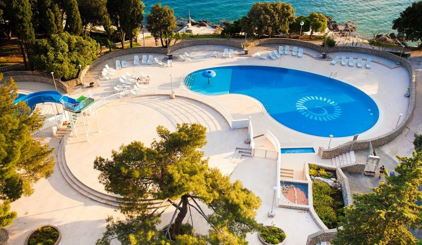 View of the swimming pool at Dražica Hotel Resort