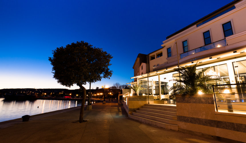 Marina boutique hotel in the evening - Krk town
