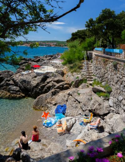 Lovely beach just outside Tamaris villa in Krk