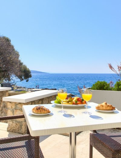Delicious breakfast by the sea in Tamaris villa in Krk