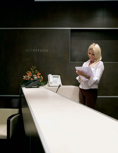 Elegant reception desk in Marina boutique hotel in Krk
