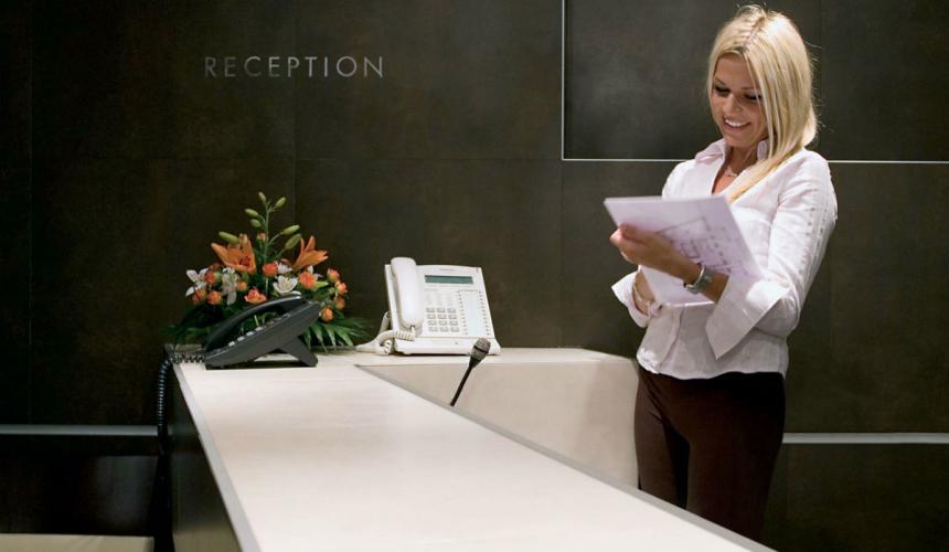 Elegant reception desk in Marina boutique hotel in Krk