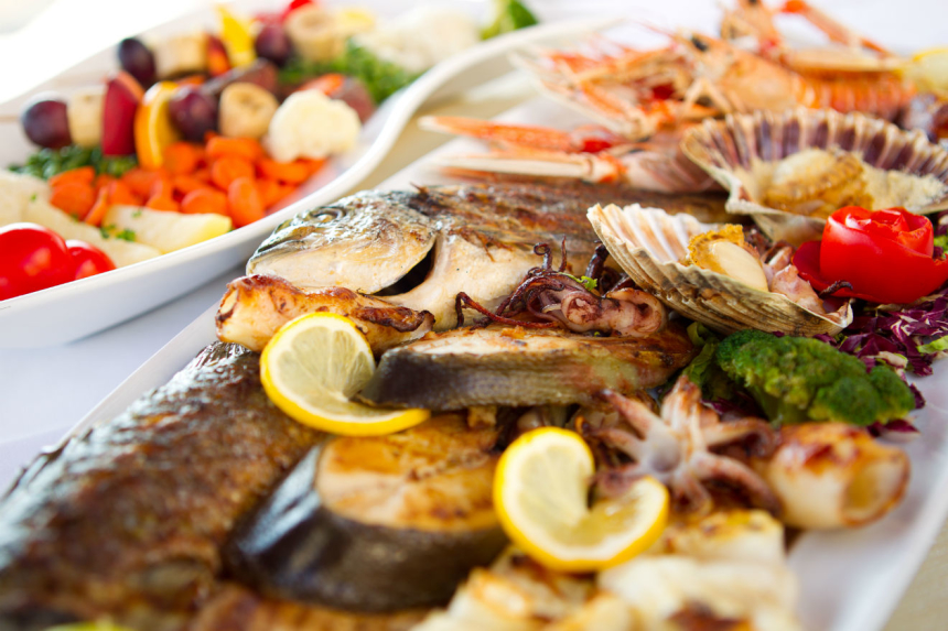 Delightful seafood on a plate in Marina restaurant in Krk