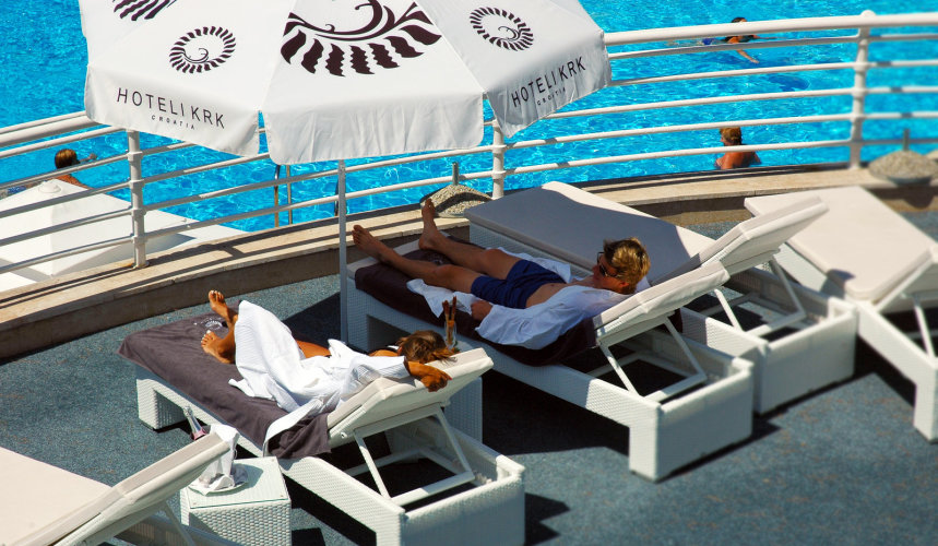 Lounging by the pool at Valomet VIP Lounge Zone in Krk
