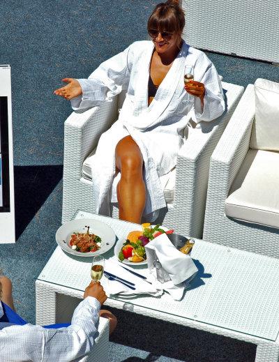 Enjoying a meal at Valomet VIP Lounge Zone in Krk