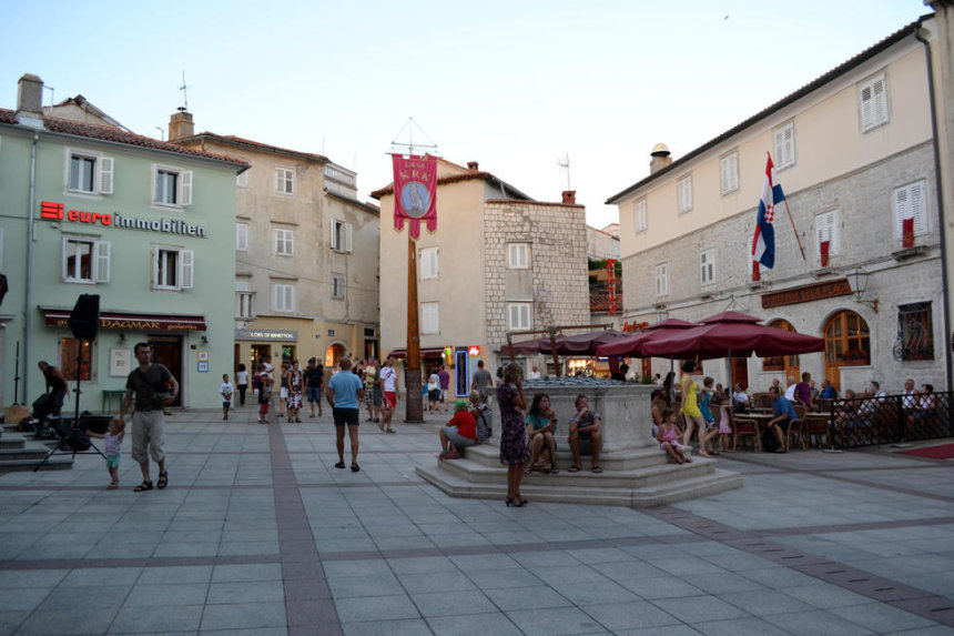 Central Vela placa square in the town of Krk