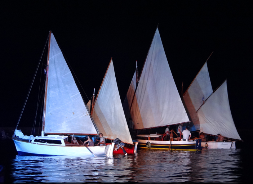 Sailing at night in the town of Krk